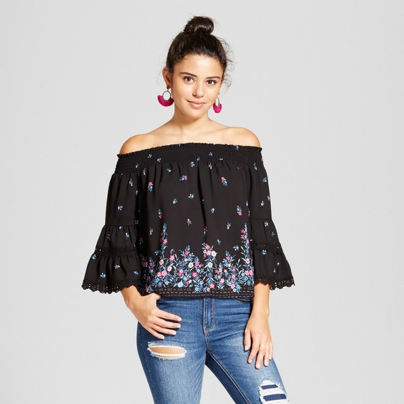 b5e218d1245d8 Black Floral Off the Shoulder Lace Bell Sleeve Top. NWT. Xhilaration